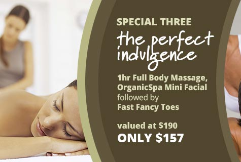 Special 3 - The Perfect Indulgence, One hour Full Body Massage OrganicSpa Mini Facial followed by Fast Fancy Toes - 2 hours for only $157