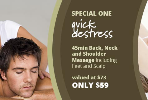 Special 1 - Quick De-Stress, 45 minute Back, Neck and Shoulder Massage including Feet and Scalp - only $59
