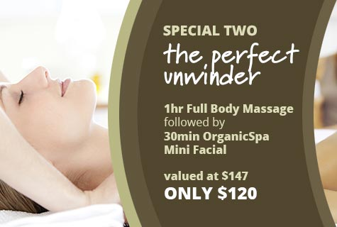 Special 2 - The Perfect Unwinder, 1 Hour Full Body Massage followed by 30min OrganicSpa Mini Facial - only $120