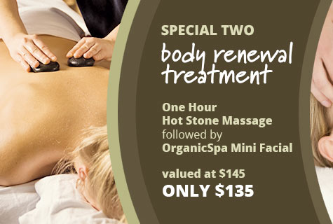 Special 2 - Body Renewal Treatment deal, Hot Stone Massage followed by Organic Spa Facial offer - only $135, value at $145 (save $10)