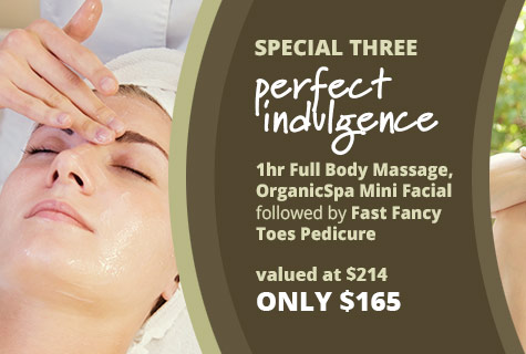 The Perfect Indulgence, Full Body Massage deal, Spa Facial and Pedicure offer