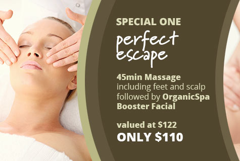 The Perfect Escape Massage deal and Organic Spa Facial offer