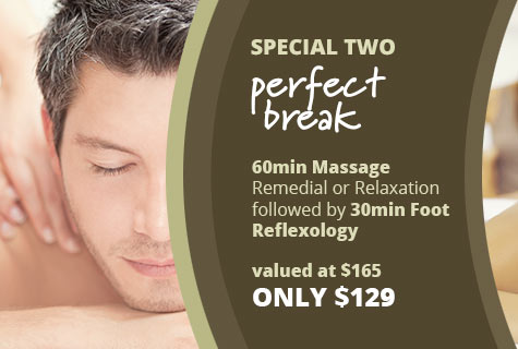 Special 2 - The Perfect Break, 60min Remedial or Relaxation Massage followed by 30min Foot Reflexology - only $129, valued at $165 (save $36)